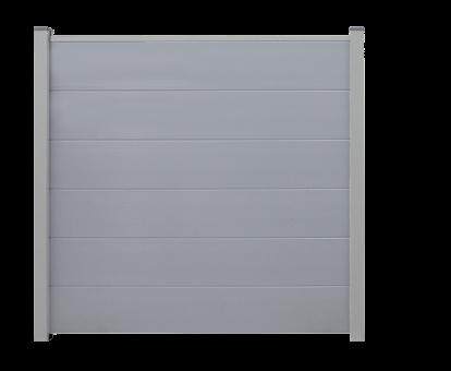 BasicLine PVC Steckzaun 180x180 cm Silbergrau