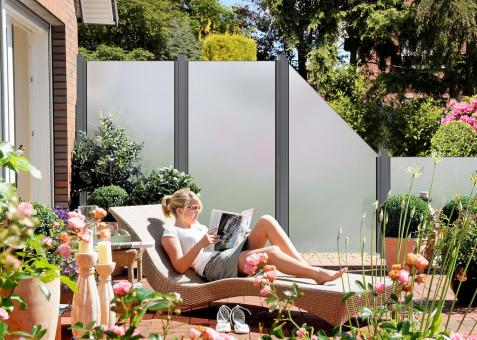GrojaAmbiente Glas-Sichtschutzelement Senkrecht 90x180 Satiniert