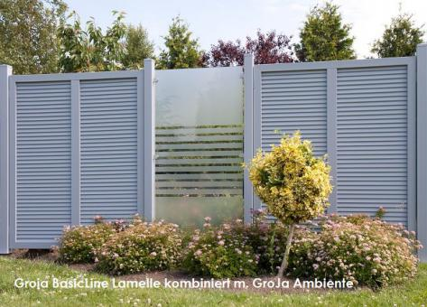 BasicLine Sichtschutz Typ S 180/Lamelle Silbergrau 180x180x4,8