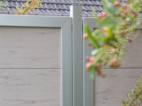 GrojaViento Zaunelement Hochkant 90x180 cm Bi-Color weiss