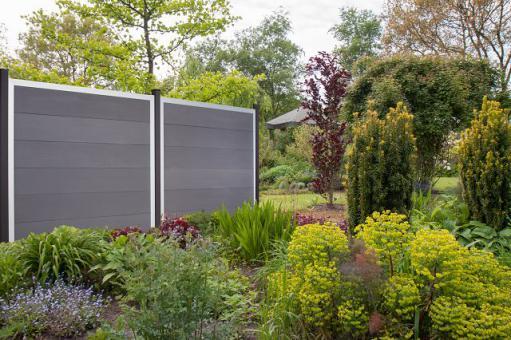 GrojaViento Zaunelement Quadratisch 180x180 cm Ziegelgrau