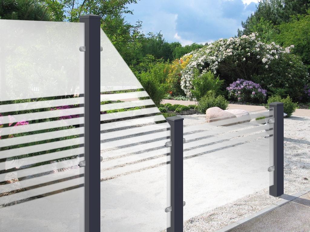 Grojaambiente Glas Sichtschutzelement Waagrecht 180x90 Streifen